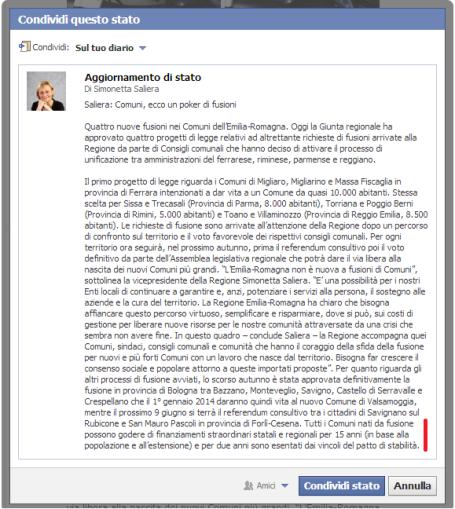 Status di Simonetta Saliera, vice presidente della regione ER